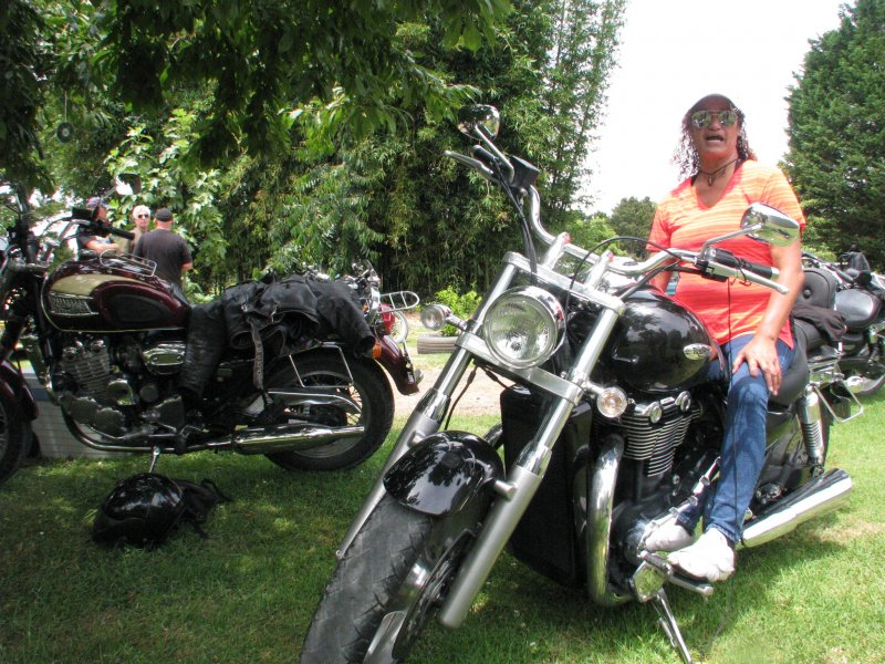Te Awhi Ashby trying out Geoffs  Triumph